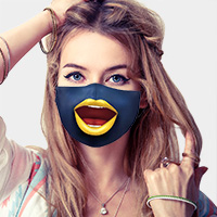 Cartoon Lip Print Cotton Fashion Mask