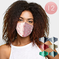 12PCS - Assorted Polka Dot Pattern Print Fashion Masks