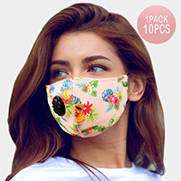 10PCS - Assorted Tropical Leaf Fruits Print Filter Breathable Fashion Masks