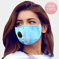 10PCS - Assorted Tie Dye Print Filter Breathable Fashion Masks