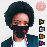 12PCS - Assorted I Can't Breathe Filter Fashion Masks