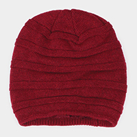 Fur Lining Stripe Knit Beanie Hat