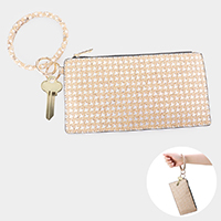 Houndstooth Pattern Print Key Chain / Bracelet / Pouch Bag
