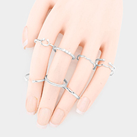 9PCS - Pearl Embellished Thickness Metal Mixed Ring Set