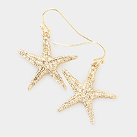Textured Metal Starfish Dangle Earrings