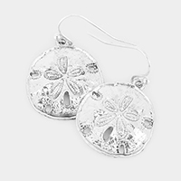 Metal Sand Dollar Dangle Earrings