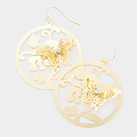 Brass Metal CZ Embellished Butterfly Accented Earrings