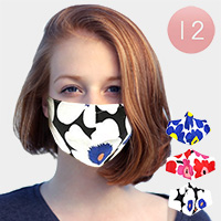12PCS- Assorted Flower Print Fashion Masks