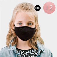 12PCS - Black Solid Color Kids Fashion Masks