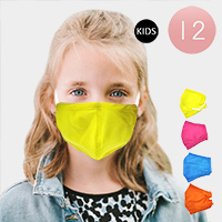 12PCS - Assorted Solid Color Kids Fashion Masks