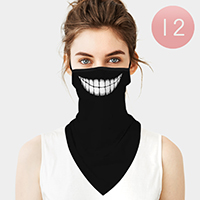 12PCS - Cartoon Smile Lip Breathable Earloop Neck Gaiter Face Cover