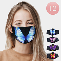 12PCS - Assorted Butterfly Print Fashion Masks