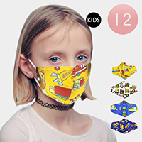 12PCS - Assorted Car Print Kids Fashion Masks