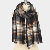 Plaid Check Oblong Scarf