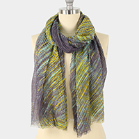Lurex Pleated Abstract Print Oblong Scarf