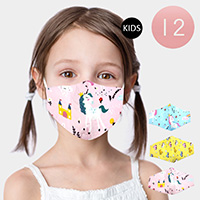 12PCS - Assorted Unicorn Print Kids Fashion Masks