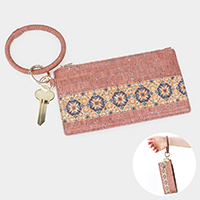 Traditional Pattern Faux Leather Key Chain / Bracelet / Pouch Bag