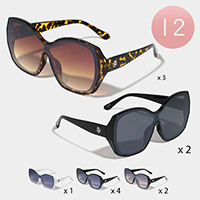12PCS - Lion Detail Chic Wayfarer Sunglasses