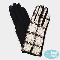 Plaid Lurex Tweed Smart Gloves