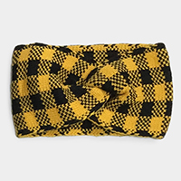 Buffalo Check Knit Knot Headband