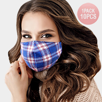 10PCS - Plaid Check Print Cotton Fashion Masks