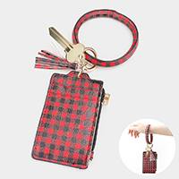 Buffalo Check Faux Leather Key Chain / Bracelet / Card Holder / Coin Zipper Purse