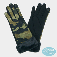 Camouflage Faux Fur Cuff Smart Touch Gloves