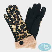 Leopard Sherpa Cuff Smart Touch Gloves
