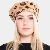 Leopard Stretchy Beret Hat