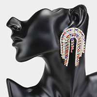 Colorful Rhinestone Pave Evening Earrings