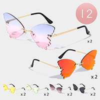 12PCS - Tinted Butterfly Rimless Sunglasses