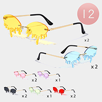 12PCS - Tinted Dripping Rimless Sunglasses