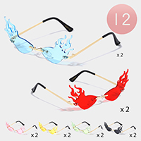 12PCS - Tinted Fire Flame Rimless Sunglasses