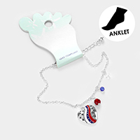 American USA Flag Heart Anklet