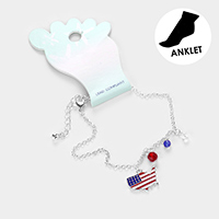 American USA Flag State Map Anklet