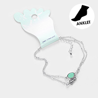 Double Layered Sea Glass Metal Turtle Anklet