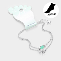 Double Layered Sea Glass Metal Starfish Anklet