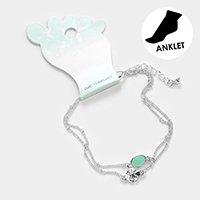 Double Layered Sea Glass Metal Sand Dollar Anklet