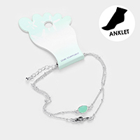 Double Layered Sea Glass Metal Seahorse Anklet