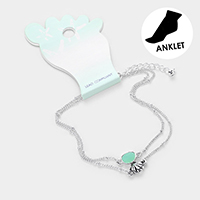 Double Layered Sea Glass Metal Shell Anklet