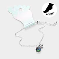 Abalone Cut Out Metal Sand Dollar Anklet