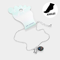 Abalone Cut Out Metal Turtle Anklet