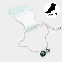Abalone Cut Out Metal Starfish Anklet