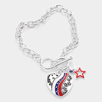 American USA Flag Heart Star Charm Toggle Bracelet