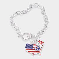 American USA Flag State Map Charm Toggle Bracelet