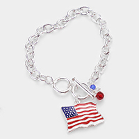 American USA Flag Charm Toggle Bracelet