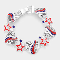 American USA Flag Heart Star Link Magnetic Bracelet