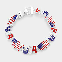 American USA Flag State Map Link Magnetic Bracelet