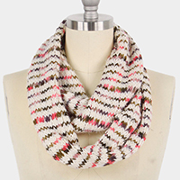 Multi Color Yarn Knit Infinity Scarf