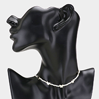 Pearl Metal Butterfly Station Choker Necklace